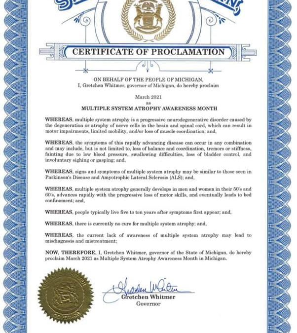 MICHIGAN GOV DECLARES MARCH AS MSA AWARENESS MONTH
